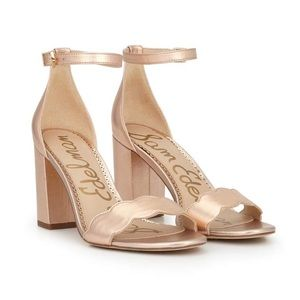 SAM EDELMAN Rose Gold Odila Heeled Sandal 8